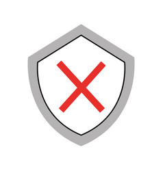 security shield with x symbol vector image