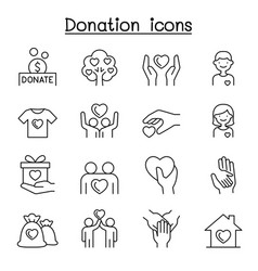 set donation charity line icons contains such vector image