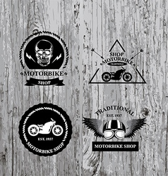Set labels motorbike shop vector