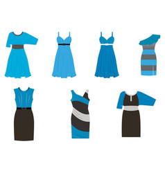 set of dresses in different styles in four colors vector image