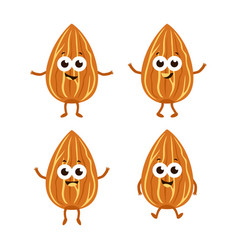 set with cartoon almonds vector image