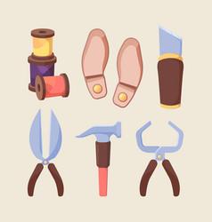 shoe repair tools set sharp scissors for cutting vector image