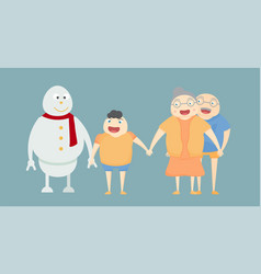 snowman and human family portrait on blue vector image