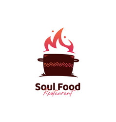 soul food kitchen logo with hot pot logo icon vector image