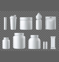 sport nutrition containers realistic blank white vector image
