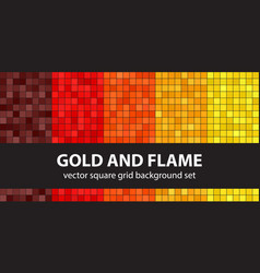 square pattern set gold and flame seamless vector image