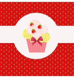 Strawberry cake on strawberry background vector