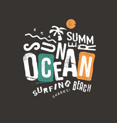 Summer t-shirt print template on dark background vector