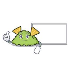 thumbs up with board guacamole character cartoon vector image