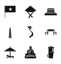 Tourism in Vietnam icons set simple style vector