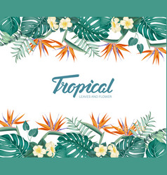 Tropical flower frame with summer holidays text vector