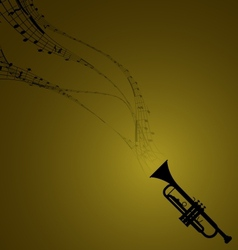 Trumpet with Musical Symbols vector image
