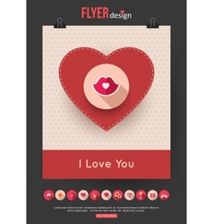 Valentines Day brochure template and set of flat vector image