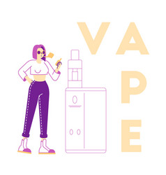 Vaping activity concept young woman character vector
