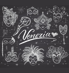 venice italy sketch carnival venetian masks hand vector image
