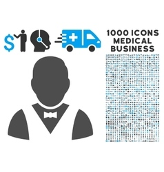 Waiter Icon with 1000 Medical Business Pictograms vector image