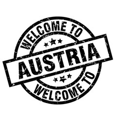 Welcome to austria black stamp vector