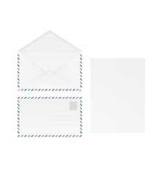 White blank envelope and paper vector