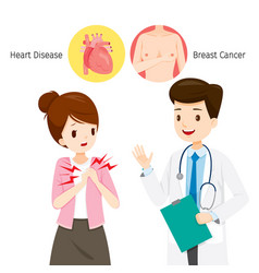 woman see doctor about her chest pain vector image