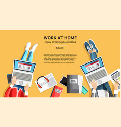 work at home business banner with people vector image