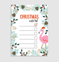 Cute Christmas card wish list Flamingo with vector image vector image
