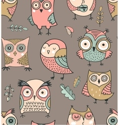 Cute hand drawn owl seamless pattern vector image