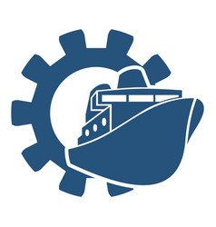 ferry boat icon in gear vector image vector image