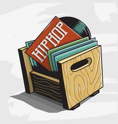 hip hop vinyl records storage box image vector image