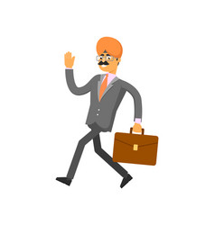 Indian businessman hurrying to work vector