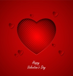 Valentine card with red hearts cut out template vector image vector image