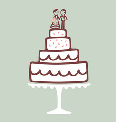 wedding cake with topper vector image vector image