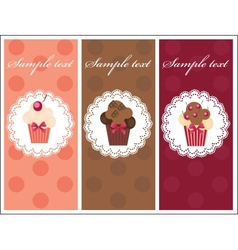 Beautiful card with sweet cupcakes Dessert set vector image vector image