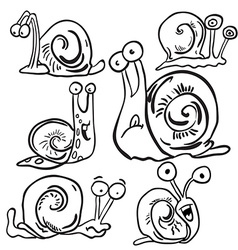 black and white bunch of snails vector image