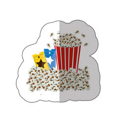 color background sticker with popcorn container vector image vector image