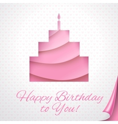 Happy birthday pink postcard with cake vector