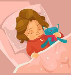 little smiling baby girl character sleeping vector image vector image