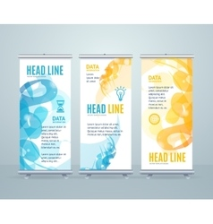 Roll Up Banner Stand Design with Abstract vector image vector image