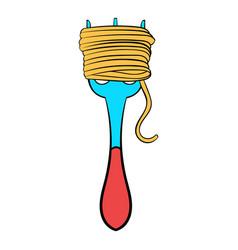 spaghetti on a fork icon cartoon vector image