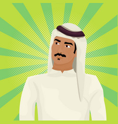 arab business man in traditional clothes looking vector image vector image