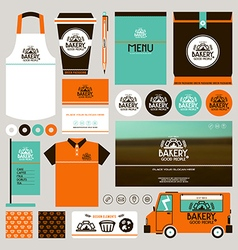 Concept for bakery identity mock up template vector image