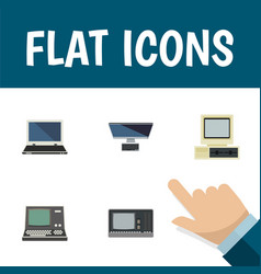 Flat icon laptop set of computer pc technology vector