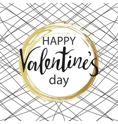 Happy Valentines Day Gold circle with calligraphy vector image