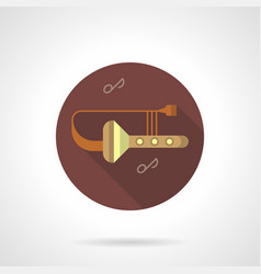 trombone tunes flat brown round icon vector image