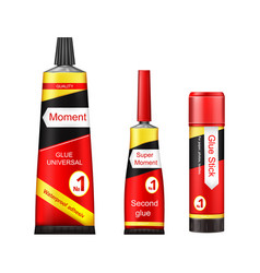 tubes of glue - adhesive stick super and vector image