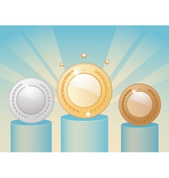 winners medals and podium vector image vector image