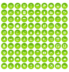 100 beach icons set green circle vector