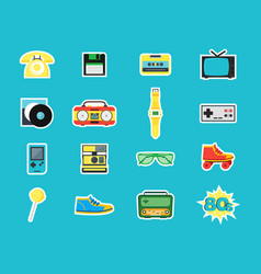 cartoon eighties style symbol color icons set vector image vector image