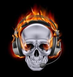 Flaming Chrome metal Skull with headphones speak vector image