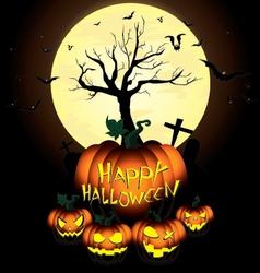 Happy halloween pumpkin and bats in moon night on vector
