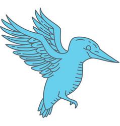kingfisher flying mono line vector image vector image